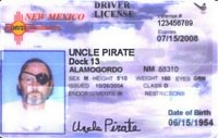 Uncle Pirate's driver license